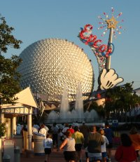 Epcot's Spaceship Earth from Family Fun Run in January 2003 (cropped, scaled)