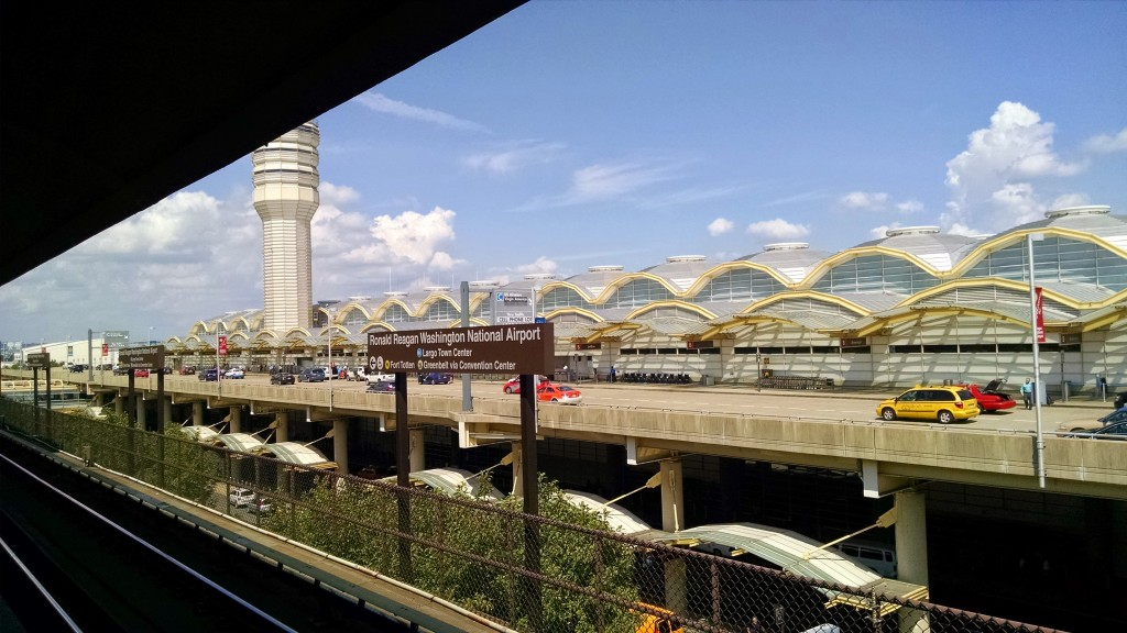 The Ronal Reagan Washington National Airport from the Metro station platform
