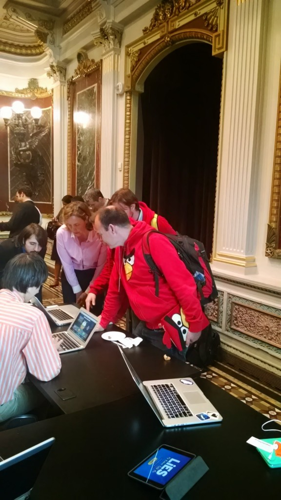 Rovio Angry Birds developers and the Chief Technology Officer of the United State Megan Smith playing games
